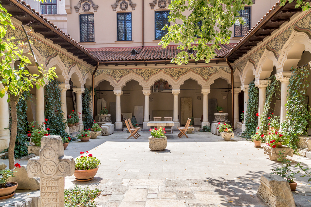 Stavropoleos Monastery Cloister in Bucharest Old Town